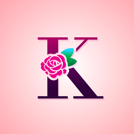 Letter with Rose Flower for beauty and fashion icon. Ilustração