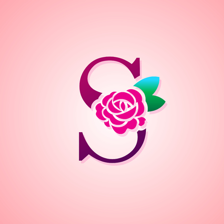 Letter with Rose Flower for beauty and fashion icon.