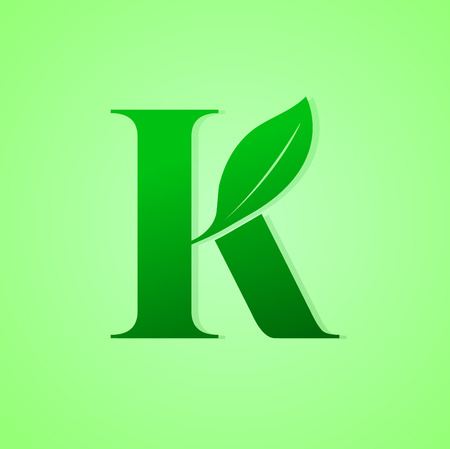 Green Ecology letter for nature icon vector illustration.