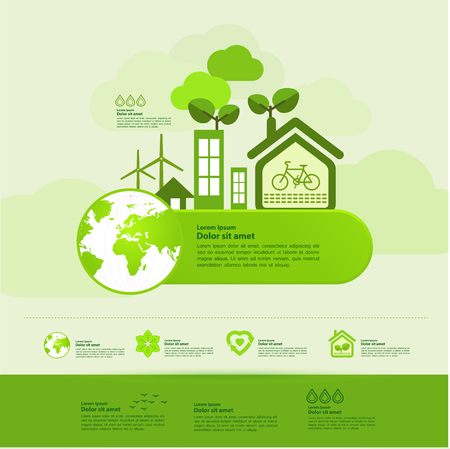 Let's save the world together green ecology vector illustration.