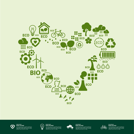 Let's save the world together green ecology vector illustration.