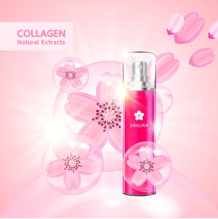 Sakura collagen and serum for beauty product vector. Çizim