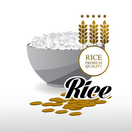 Premium Rice great quality design concept vector.