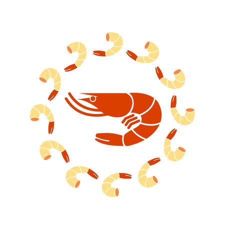 Fresh shrimp for sea food vector.