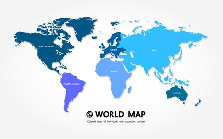 Grande carte du monde élément graphique illustration vectorielle.