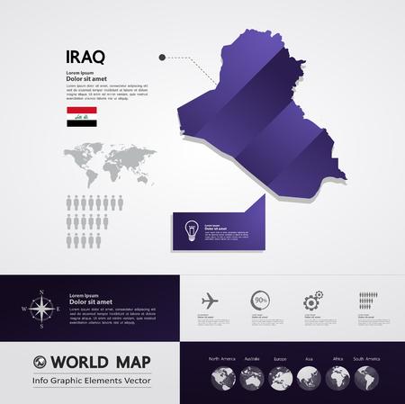 Iraq map vector illustration. Vecteurs
