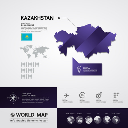 Kazakhstan map vector illustration.