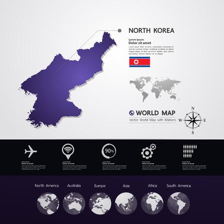 North Korea map vector illustration.