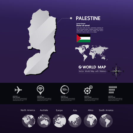 Palestine map vector illustration. Stock Illustratie