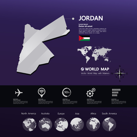 Jordan map vector illustration. Ilustrace
