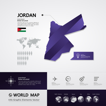 Jordan map vector illustration. Stock Illustratie