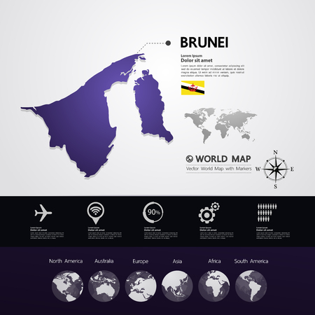 Brunei  map vector illustration. Vettoriali