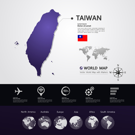 Taiwan map vector illustration.