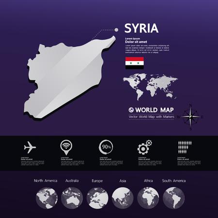Syria map vector illustration. Vecteurs