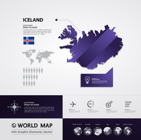 Iceland map vector illustration.