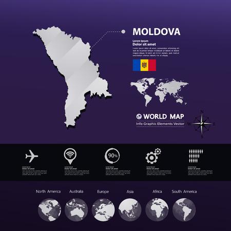 Moldova map vector illustration.