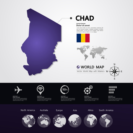 Chad map vector illustration.