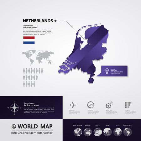 Netherlands map vector illustration.