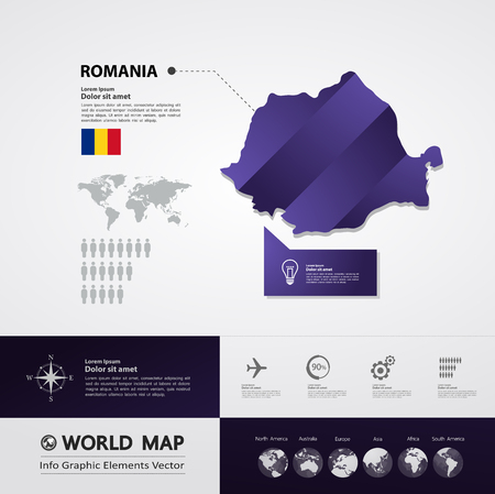 Romania map vector illustration.