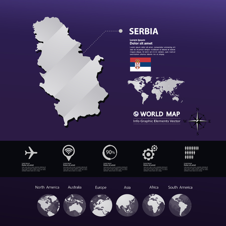 Serbia map vector illustration.