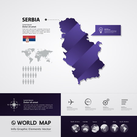 Serbia map vector illustration.