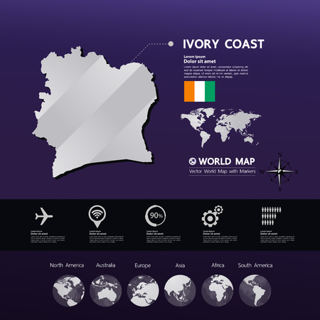 Ivory Coast map vector illustration.