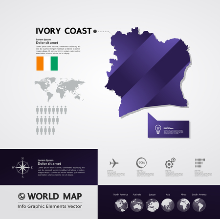 Ivory Coast map vector illustration. 写真素材 - 117760057
