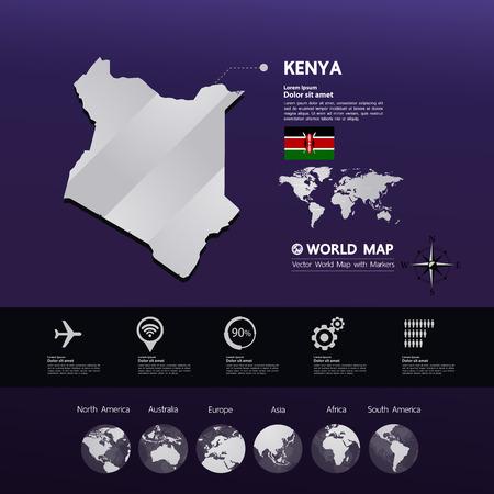 Kenya map vector illustration.