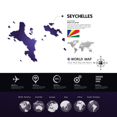 Seychelles map vector illustration.