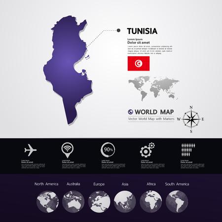Tunisia map vector illustration.