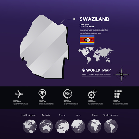 swaziland  map vector illustration.