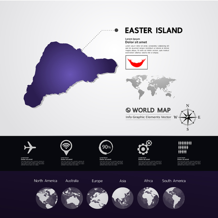 Easter Island map vector illustration.