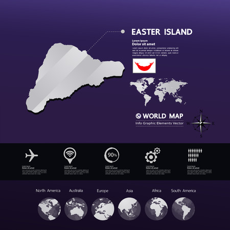 Easter Island map vector illustration. Standard-Bild - 117760319