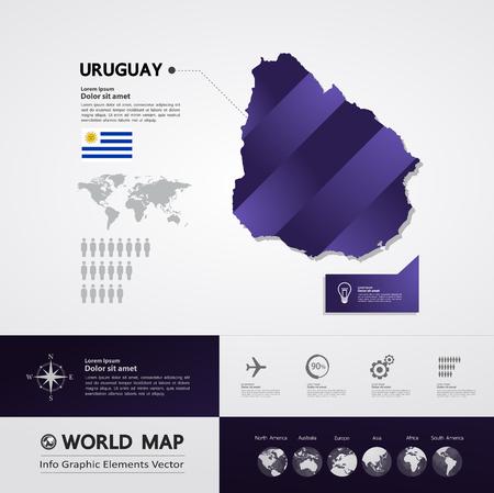 Uruguay map vector illustration. Illusztráció