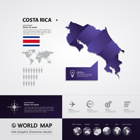 Costa Rica map vector illustration.