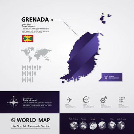 Grenada map vector illustration.