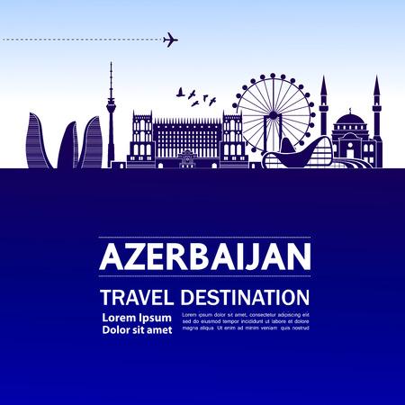 Azerbaijan travel destination vector illustration. Vector Illustratie