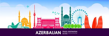 Azerbaijan travel destination vector illustration.