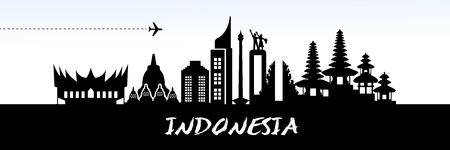 INDONESIA travel destination vector illustration.  イラスト・ベクター素材