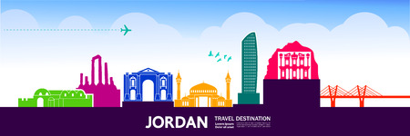 Jordan travel destination vector illustration.