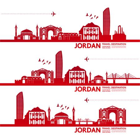 Jordan travel destination vector illustration.