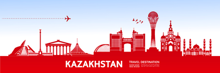 Kazakhstan travel destination vector illustration.
