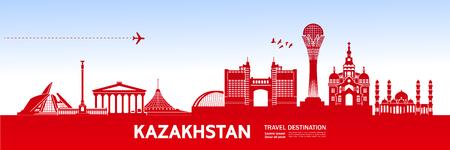 Kazakhstan travel destination vector illustration.