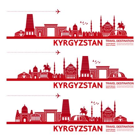 Kyrgyzstan travel destination vector illustration. Illustration