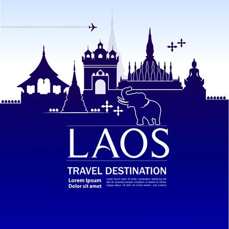 LAOS travel destination vector illustration.