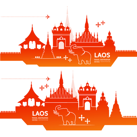 LAOS travel destination vector illustration.
