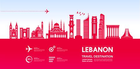 Ilustración de vector de destino de viaje de Líbano. Ilustración de vector