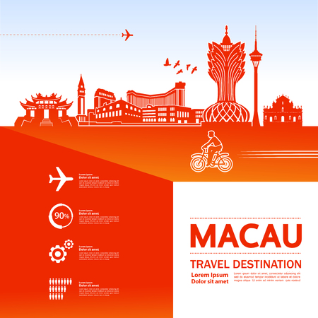 MACAU travel destination vector illustration. Vektorové ilustrace