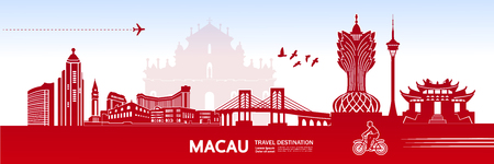 MACAU travel destination vector illustration. Illustration