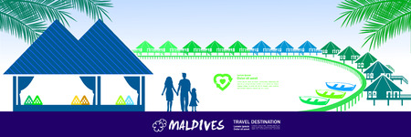 Maldives travel destination vector illustration.